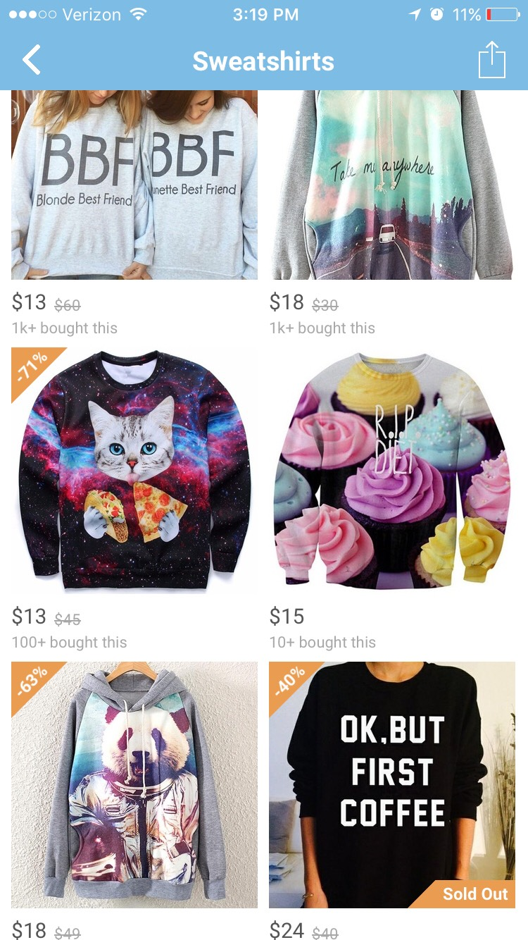 They have such cute and silly sweatshirts on wish, I will probably end up buying a few this summer even if I can't wear them for a while.