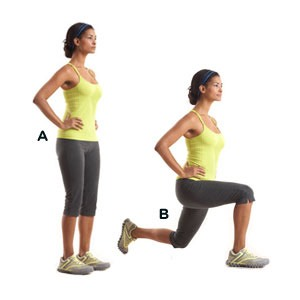 20 walking lunges per leg
