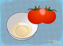 2 Take some red juicy tomatoes. Take out its juice in another bowl (half a bowl).