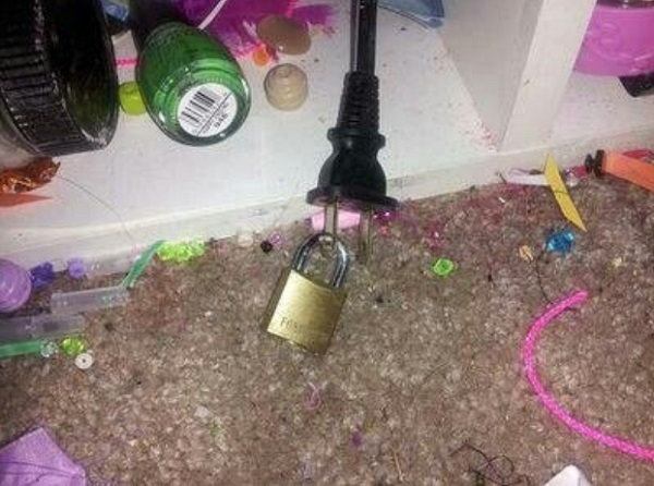 Use padlocks on plugs to stop your kids from plugging in games consoles when they're not allowed to.