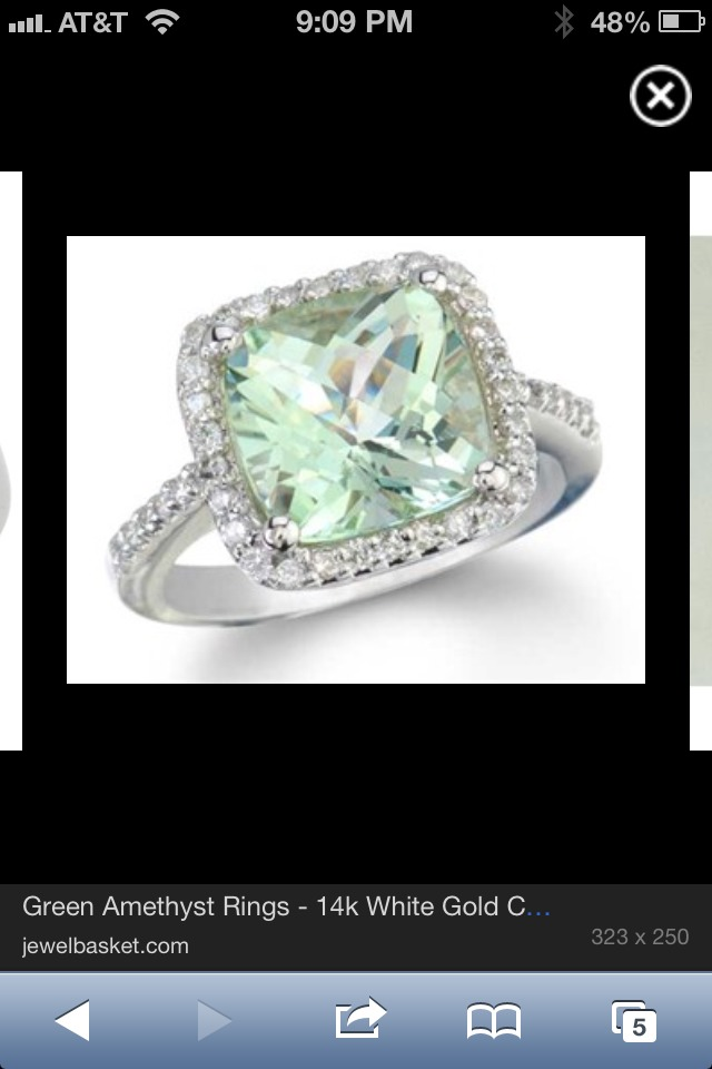Green amethyst with halo setting