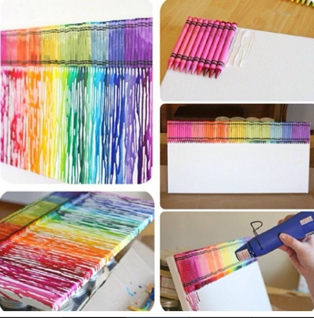 1. glue down crayons  2. using a heat gun or hair dryer melt the crayons while the canvis is stood up right