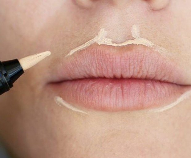 Put concealer around your lips so you can reshape them to whatever you want