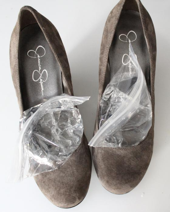 Stretch shoes by filling freezer bags with water and placing them in the freezer overnight.