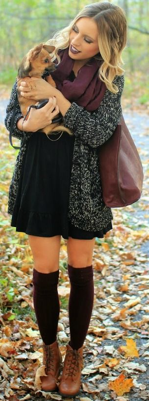 Look #1: Pair your summer dress with a long cardigan, knee high socks and ankle boots for a chic look.