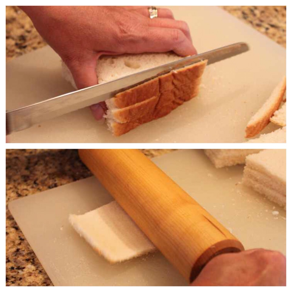 First, grab some white sandwich bread, cut the crusts off and flatten each piece with a rolling pin.