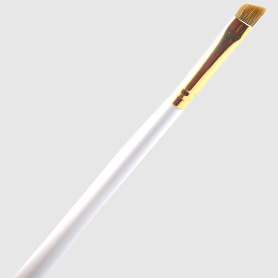 Use a clean angled eye liner brush to shape thin eyebrows and fill them in without getting a bushy look from thicker brushes!
