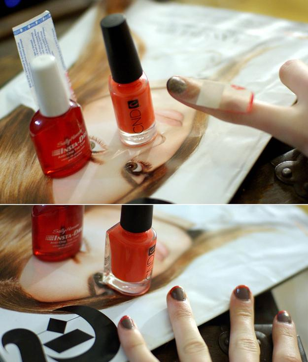 17. Use Band-Aids (the sheer kind) to get perfect French tips.