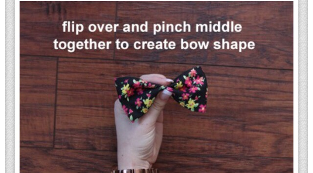 Flip over and pinch the middle to create a bow.
