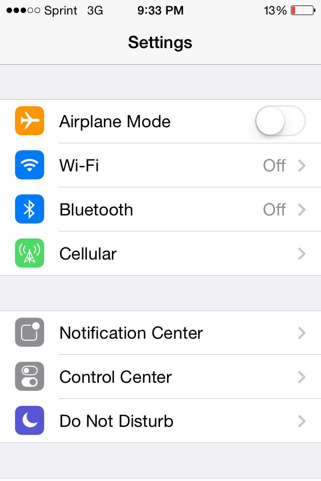 Turn your airplane mode off, wi-fi, and location off.