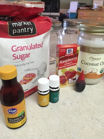 To make Sugar Scrubs, you'll need: 1/4 c.Coconut oil 3/4 c. – 1 c.Granulated white sugar 2-4 drops yellow or red food coloring 10-15 drops Lemon Essential Oil OR 10-15 drops Raspberry or Vanilla Extract