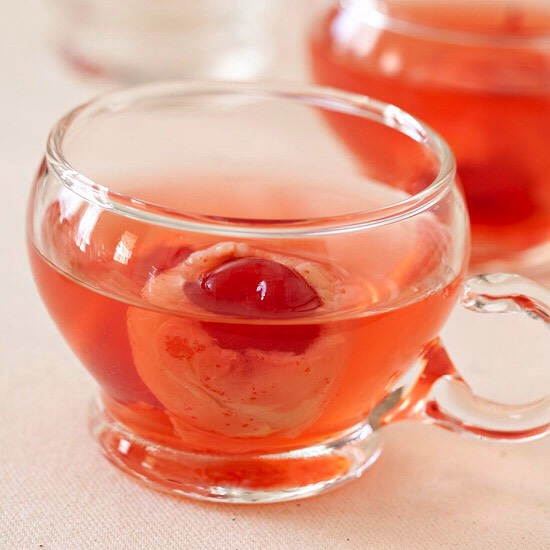 Eyeball Punch Guests will gasp when they discover an unexpected eyeball floating in their Halloween punch. But with a fruity fresh flavor these cherry eyes won't scare partygoers for long.