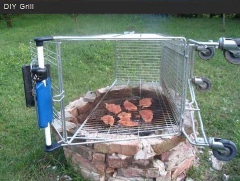 DIY Grill If your neighborhood is anything like mine, there are more shopping carts than cars on the sidesof the street. The only drawback is you're going to have to build a fire pit or find someone who has a fire pit. This grill is verymobile so it'll be easyto get it to their place.