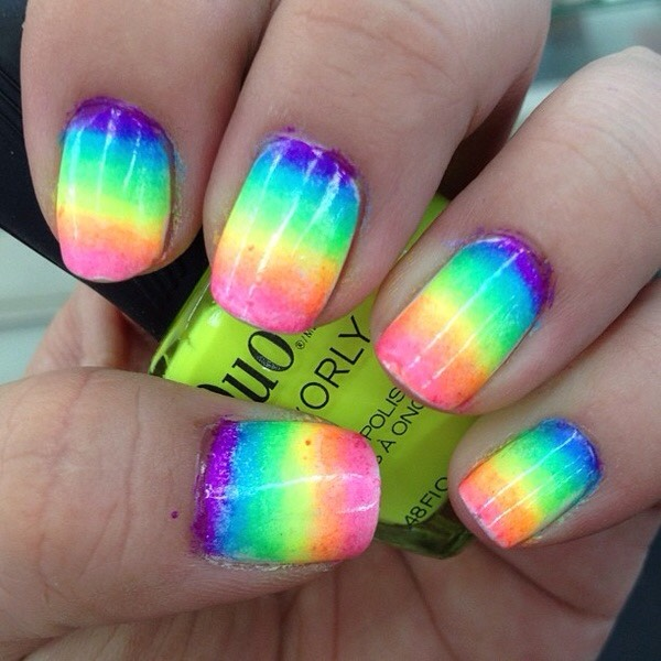 Use a sponge to create cool ombré design! Use a Light color as a base. On a flat surface, swirl the two polishes with a toothpick. Dab a sponge onto the polish and then blot onto your nails and the to quickly get them to dry use Pam!