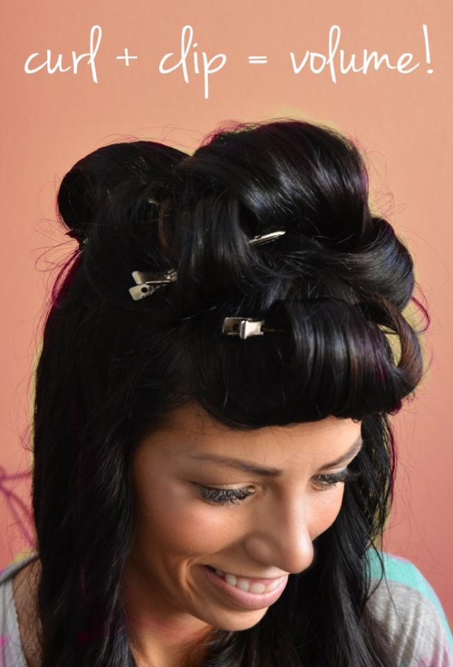 """Clip you hair while it's still warm from the curl. I clip the """"bang"""" curl really low on my forehead which creates a:"""