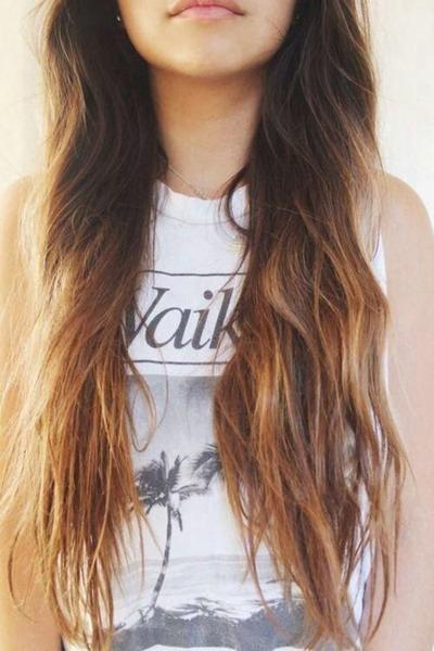 A subtle ombré looks especially pretty and bohemian on super-long hair.