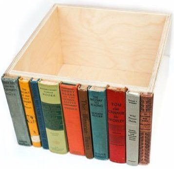 Get an empty wooden box and cut of the spine of some old books. With a hot glue gun(or really strong glue) stick them down.