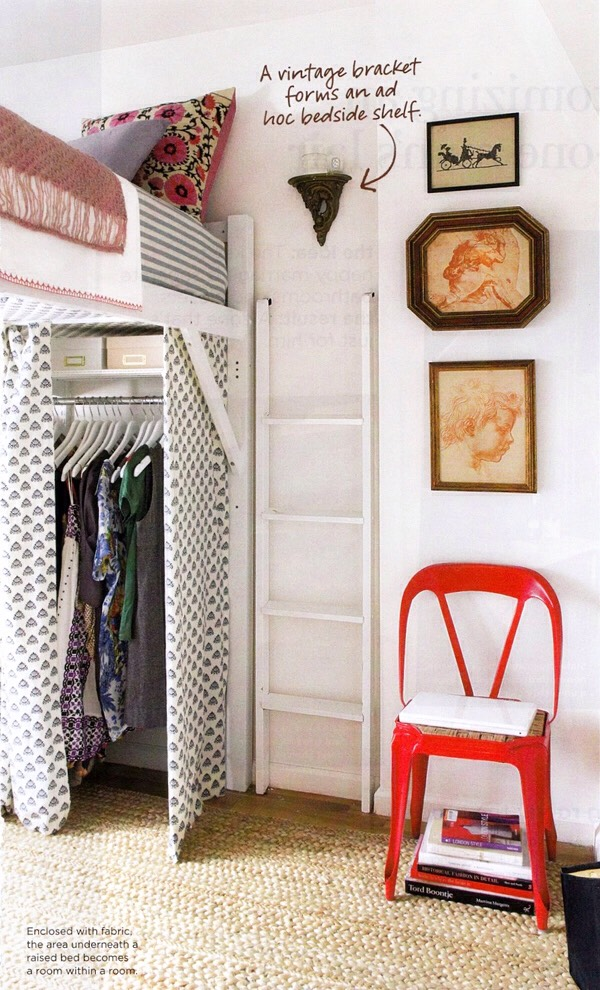 4. Loft your bed. Putting a closet underneath a loft is a great way to use vertical space even if your ceilings are normal height.