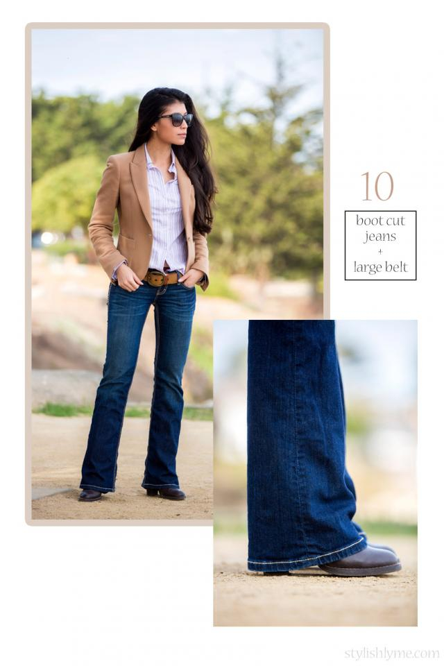 Boots worn with the perfect pair of bootcut jeans Of course let's not forget boots worn with boot cut jeans. Find the correct length in a darker wash and pair it with a nice blazer and button down for a cute fall outfit.