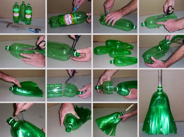 Recycle plastic bottle into a broom