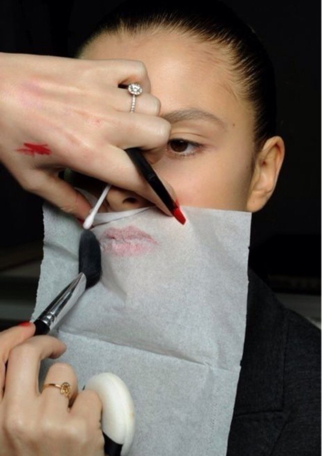 When applying lipstick, place tissue paper or a tissue on top of your lips. Then, apply translucent powder. This will make your lipstick stay on at least 5x better.