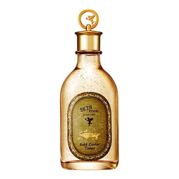Skin Food Gold Caviar Toner will make you feel fancy AF and contains gold flakes and Russian caviar that will keep your skin moisturized, resilient, and nourished.