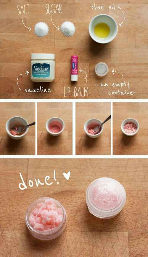 14. Before you apply lipstick, exfoliate your lips with this easy DIY scrub. Use your finger or a toothbrush to rub this mixture on your lips in tiny, circular motions for about 30 seconds. Then rinse it off with water and a tissue.