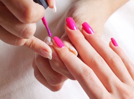 Now drag the dot to the left or right and paint a stripe all the way to the end of your nail