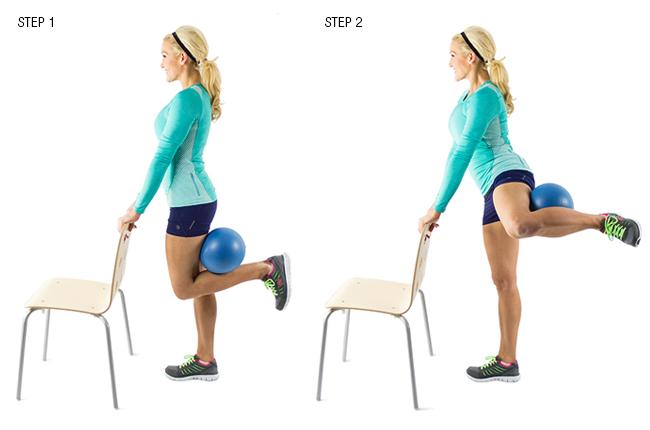 Standing Fire Hydrant with Medicine Ball: You'll need a sturdy chair and a soft ball for this move. Do it for 30 seconds, switch legs and perform the movement on the opposite leg for another 30 seconds
