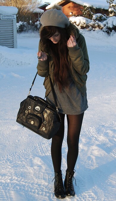 Loose shirt you'll prolly find at home + thin leggings + combat boots + beanie + furry hooded jacket = casual winter outfit