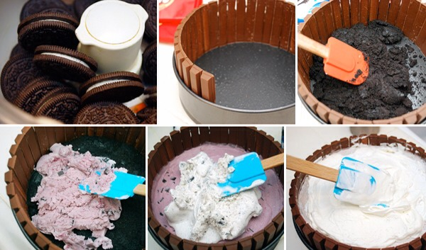 Instructions: Remove from the freezer and leave on the counter: 2 qt ice cream , any 2 flavors In a food processor combine: 2 TBS milk 24 oreo cookies Coat a 9-inch spring form pan with nonstick spray and place upright all around the side of the pan: 39 kit-kat candy bars