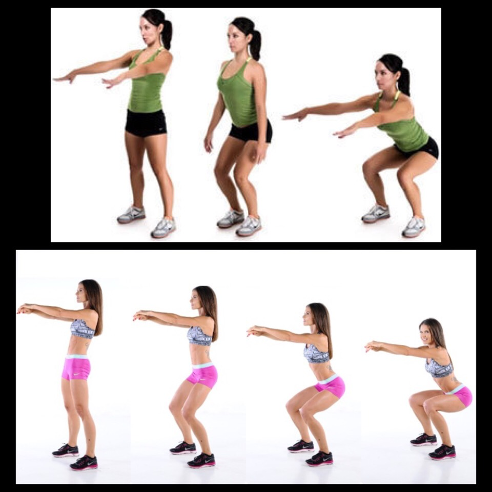 2. Squats - stand with your feet hip-width apart and place your arms to your side. Pretend there is a chair behind you and almost sit bringing your arms out in front keeping your back flat and abdominal muscles pulled in.