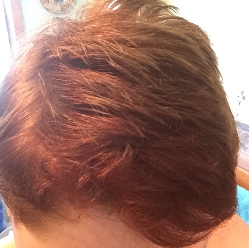 This was my hair before I added the color-dark blondish color with some red up front..