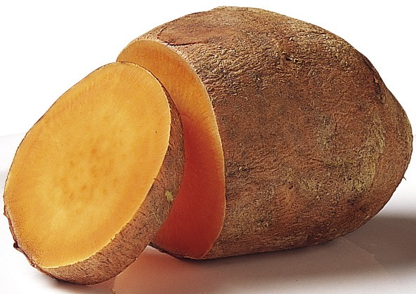 "Sweet Potatoes: A great source of the antioxidant beta carotene, which your body turns into vitamin A. ""Basically, every cell of the body cannot function without enough A,"" It also helps protect and produce the oils that sustain your scalp, and being low on vitamin A can even leave you with dandruff"