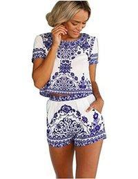 Easy Womens Retro Print V Neck Half Sleeve High Waist Short Jumpsuit Rompers