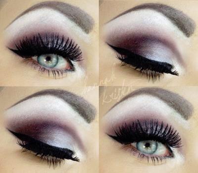 Cute light dark burgundy eye makeup