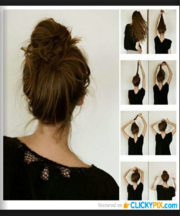 amazingly cute messy bun step by step  thumbs up if you like it  😊