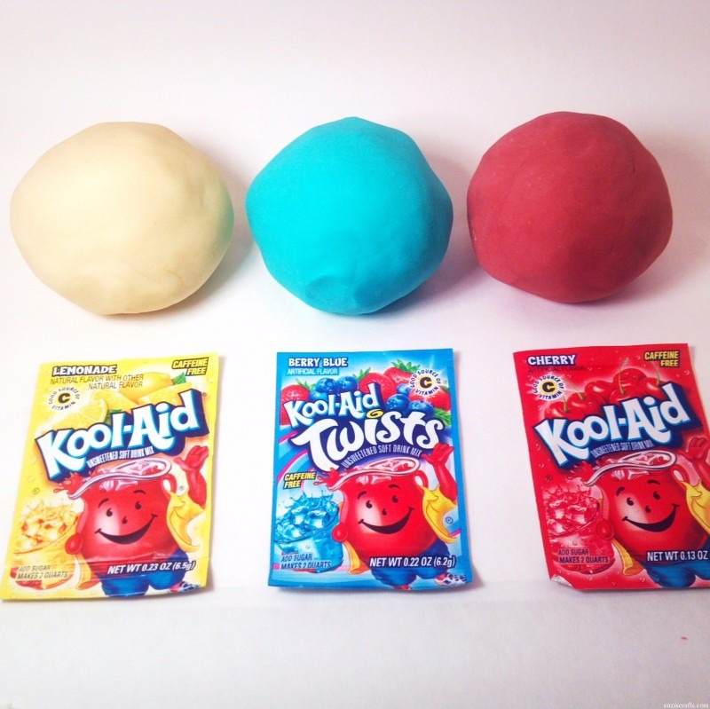 Kool aid play dough: 1 Cup Flour ¼ Cup Salt 1 Packet Kool-Aid ⅔ Cup Water *You will end up using between ½ and ⅔ cup. 1 Tb. Oil. Mix the flour, salt and kool aid together. Seperately mix oil and boiling water. Pour water into dry ingredients while stirring. Only add water until mixture is dough.