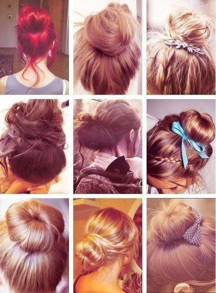 Put your hair in any kind of bun, it doesn't matter but make sure your hair is dry and NOT wet.