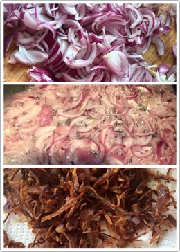 Then take 3big onions cut it into slices Fry them in oil until it turns to golden red