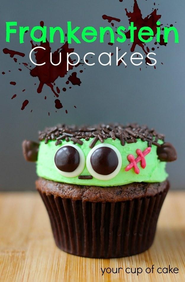 Recipe: http://www.yourcupofcake.com/2013/10/frankenstein-cupcakes.html