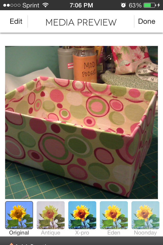 Cover a medium sized shoe box with fabric using either a fabric glue or hot glue however you prefer ;)