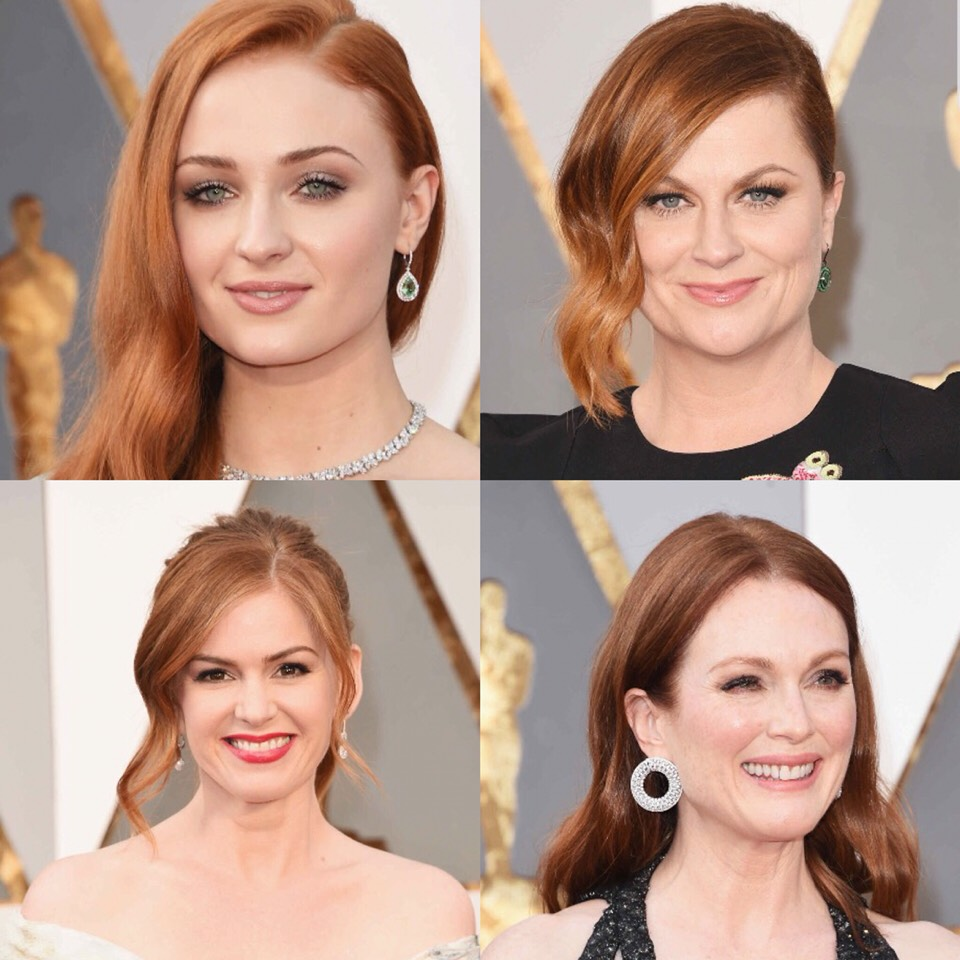 Redheads  Red hair is the least common hair color, so to see four examples of it at once (although, ahem, some may not be entirely natural) on the red carpet in one night is like finding a four-leaf clover.