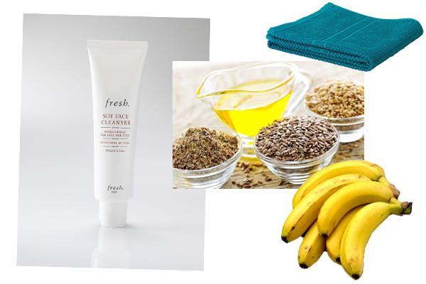 mash up banana and stir in some flax seed oil and ground oatmeal to make a paste. slather it on your skin and let dry, then tissue it off to reval hydrated, calm, nourished skin