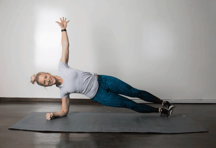 8. Rolling Plank  Start in low plank position on forearms. Hold for 10 seconds, then roll on to your right elbow, stacking feet, and hold side plank for 10 seconds, engaging your obliques. Roll back through center and over to the left elbow, stacking feet, and hold 10 seconds. Continue to alternate, keeping core engaged and not letting your hips drop.