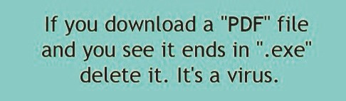 If a PDF ends in .exe it's a virus! Do NOT download that!