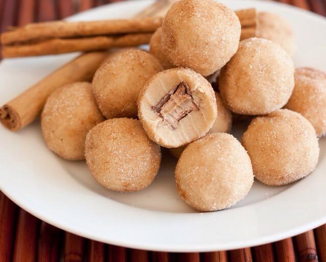 Roll each dough ball into cinnamon sugar mixture. Chill or serve immediately.  YIELDS: 28