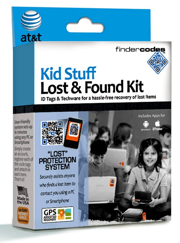 Attach a tag from the kid stuff lost and found kit by FinderCodes to children's belongings. Whoever finds the item can scan it with a smart phone to send an alert your way. You can buy a set of eight for $25  http://store.findercodes.com/p/55/kid-stuff-lost-and-found-kit