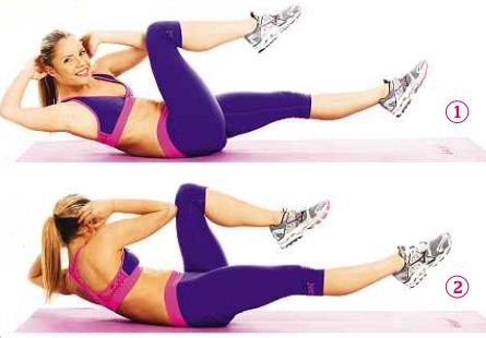 Bicycle crunches 1 minute