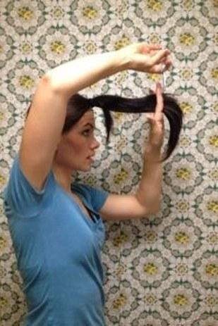 27. And finally, if you're frugal, long-haired, and extra adventurous, you can use a ponytail as an easy way to cut layers.